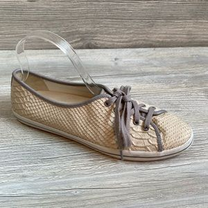 Woman's snakeskin leather laceup loafers Cole Haan
